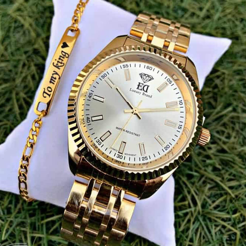 A gold watch set and a bracelet to my king