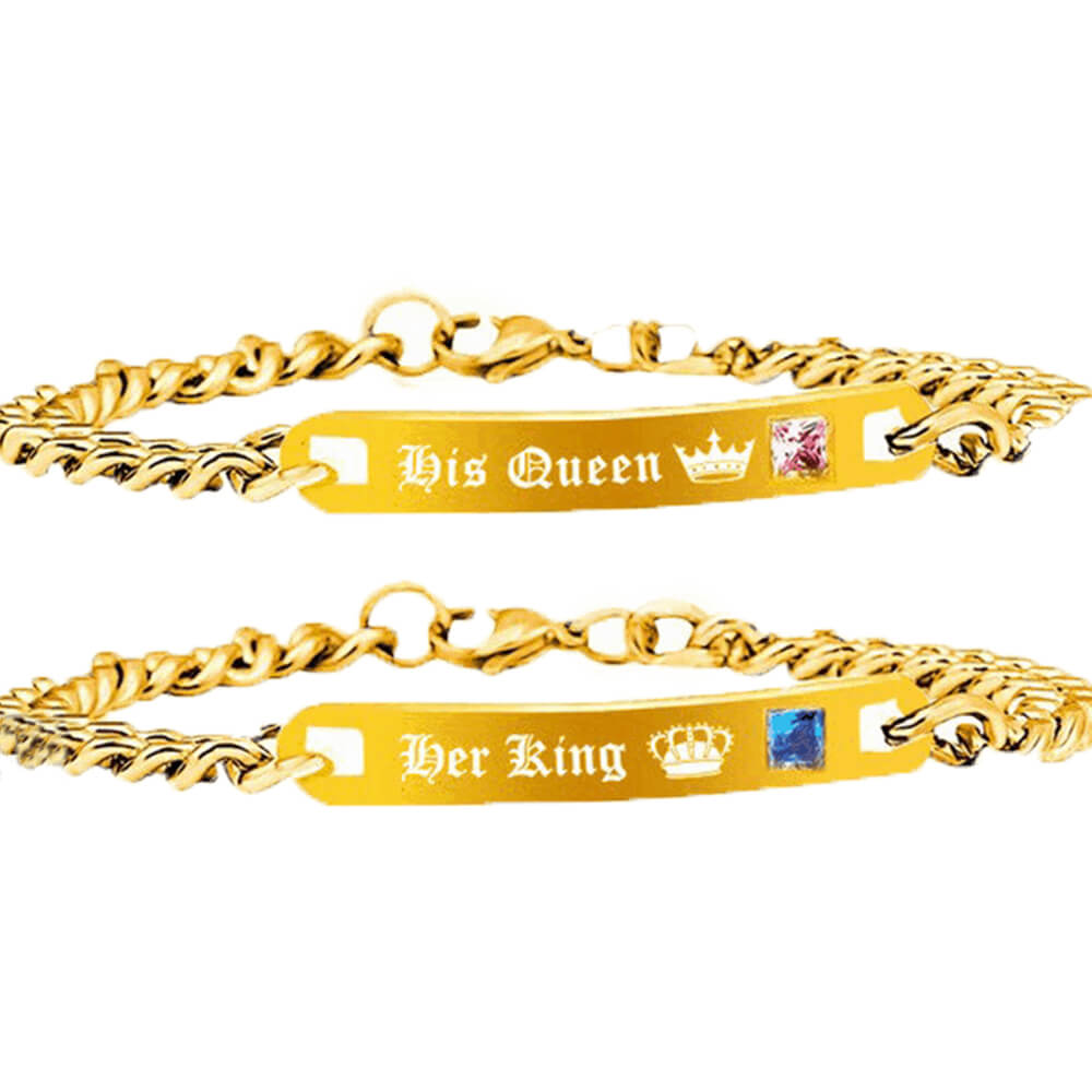 A pair of gold king and queen bracelets (