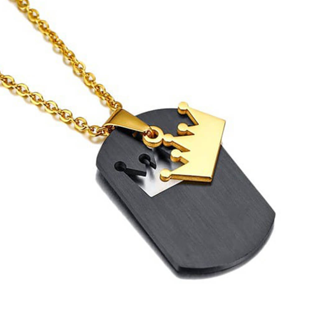 Black king necklace with crown