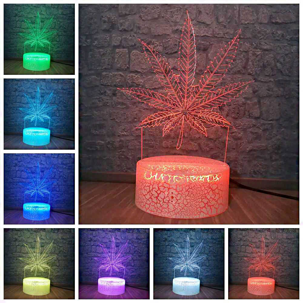Colorful cannabis night lamps
