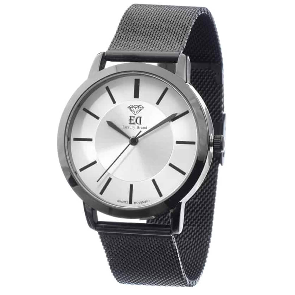 ED Black Silver Man Wrist Watch