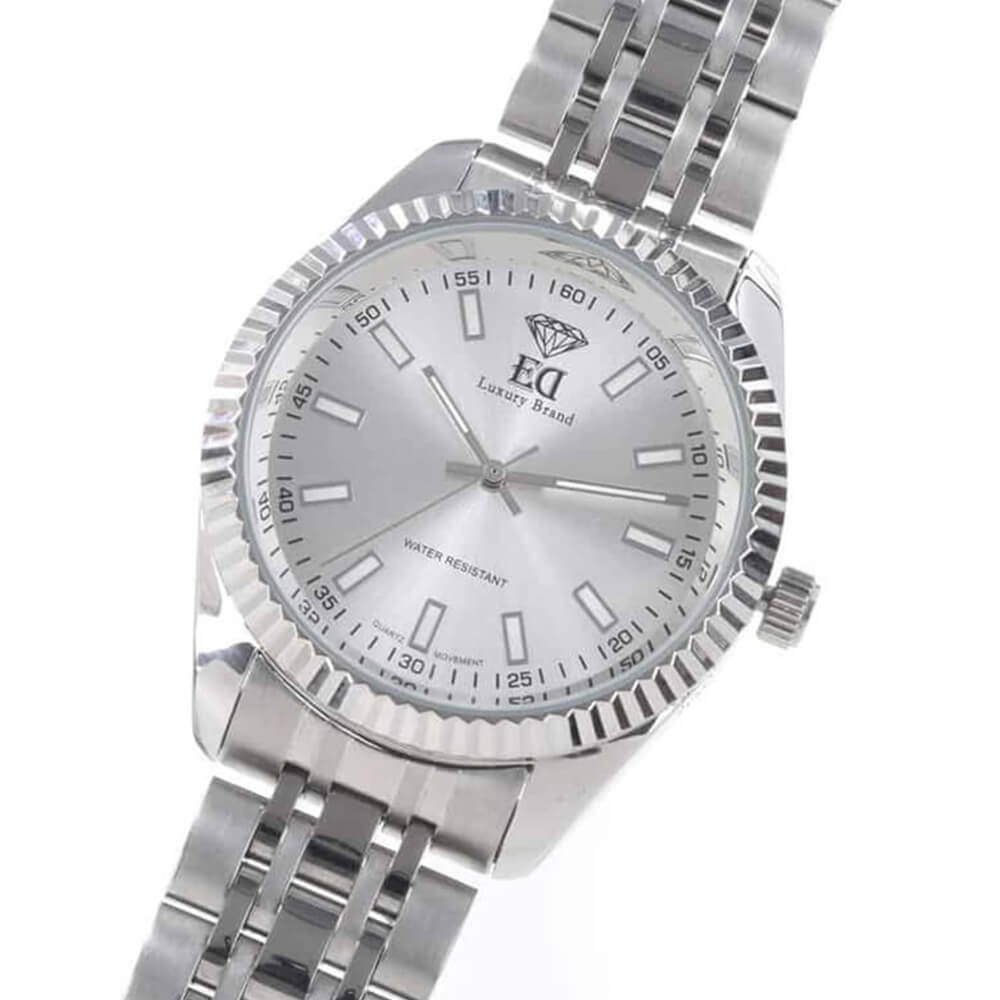 ED silver wristwatch for men