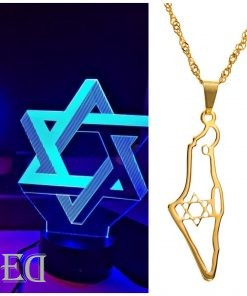 Gift premium set star of david necklace and night lamp for men
