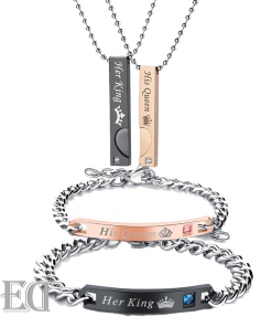 Gifts for men gifts for women king queen black gold bracelets and necklaces