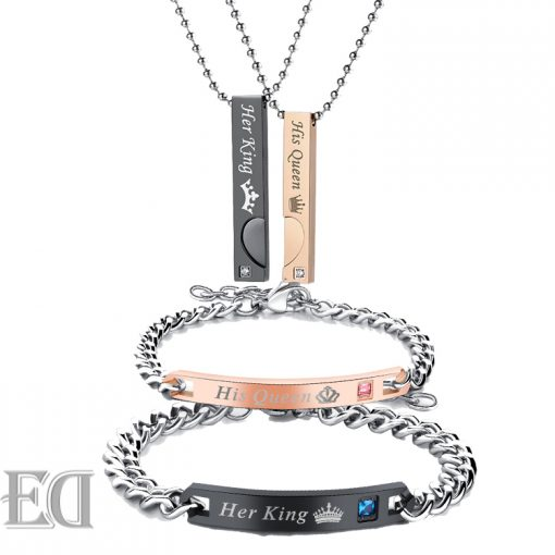 Gifts-for-men-gifts-for-women-king-queen-black-gold-bracelets-and-necklaces