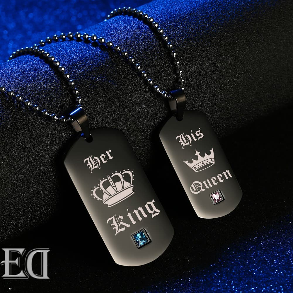 Gifts for men gifts for women king queen black necklaces-2