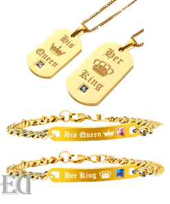 Gifts for men gifts for women king queen gold bracelets and necklaces