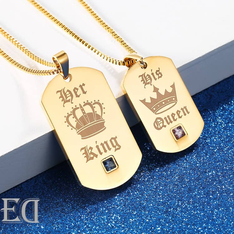 Gifts for men gifts for women king queen gold necklaces-1