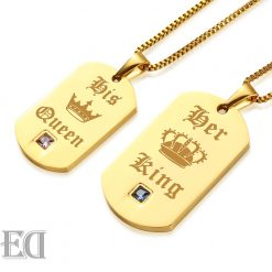 Gifts for men gifts for women king queen gold necklaces-9