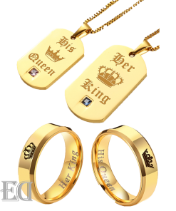 Gifts for men gifts for women king queen gold rings and necklaces