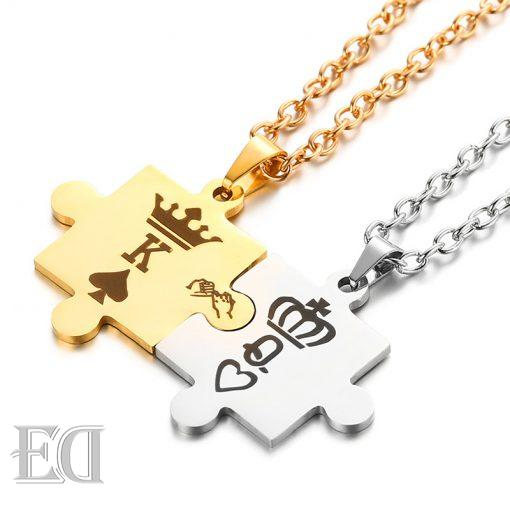Gifts for men gifts for women king queen puzzle necklaces-1