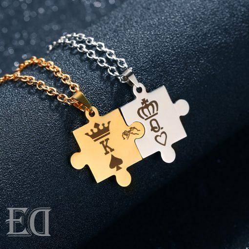 Gifts for men gifts for women king queen puzzle necklaces-11