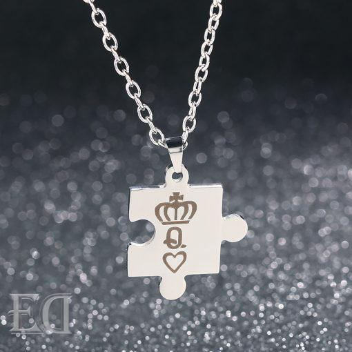 Gifts for men gifts for women king queen puzzle necklaces-6