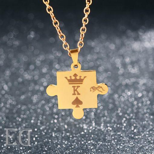 Gifts for men gifts for women king queen puzzle necklaces-7
