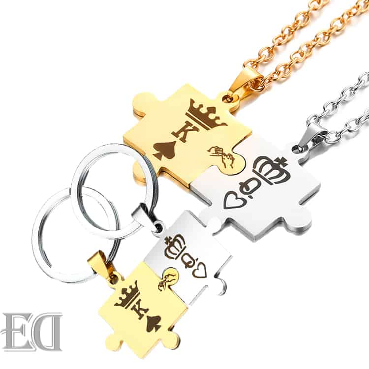 Gifts-for-men-gifts-for-women-king-queen-puzzle-necklaces-and-keychains