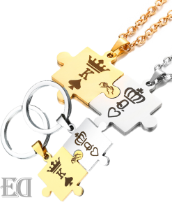 Gifts for men gifts for women king queen puzzle necklaces and keychains