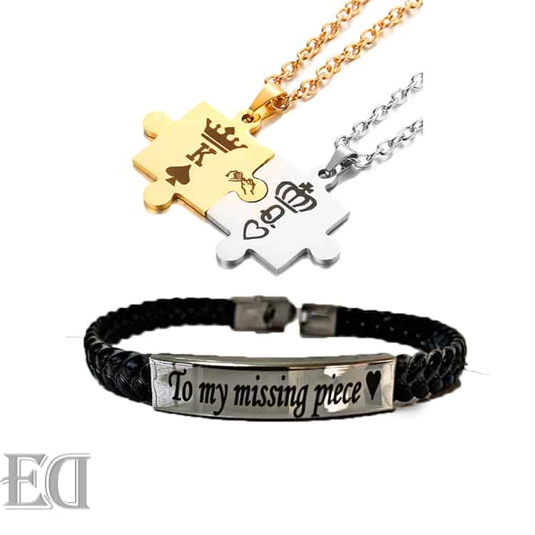 Gifts-for-men-gifts-for-women-king-queen-puzzle-necklaces-bracelet