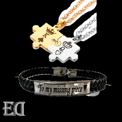 Gifts for men gifts for women king queen puzzle necklaces bracelet