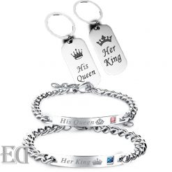 Gifts-for-men-gifts-for-women-king-queen-silver-bracelets-and-keychains