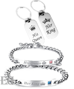 Gifts for men gifts for women king queen silver bracelets and keychains