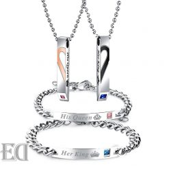 Gifts-for-men-gifts-for-women-king-queen-silver-bracelets-and-necklaces