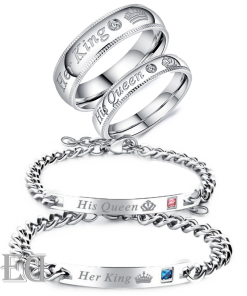 Gifts for men gifts for women king queen silver bracelets and rings