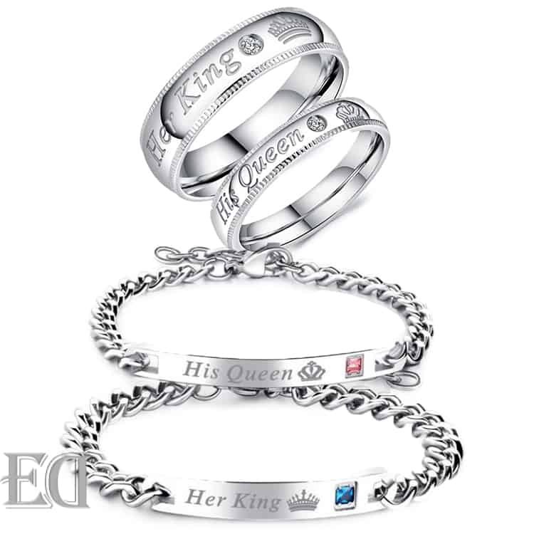 Gifts-for-men-gifts-for-women-king-queen-silver-bracelets-and-rings