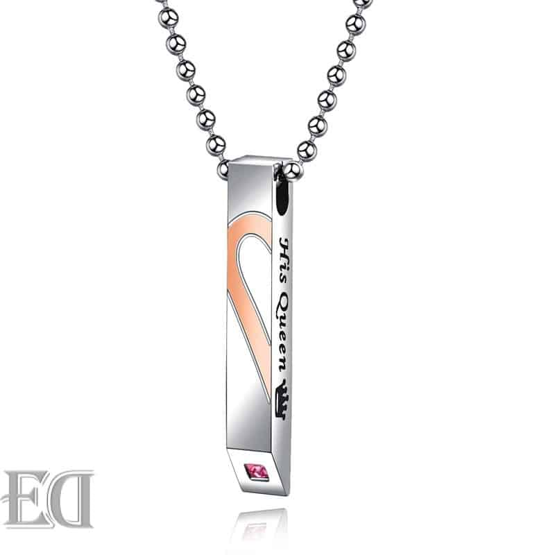 Gifts for men gifts for women king queen silver necklaces-13