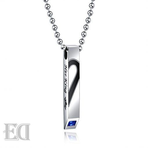 Gifts for men gifts for women king queen silver necklaces-14