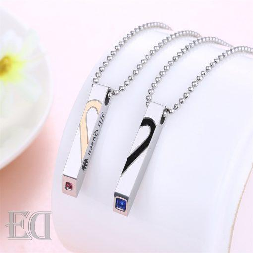Gifts for men gifts for women king queen silver necklaces-15