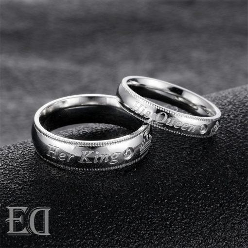 Gifts for men gifts for women king queen silver rings-17