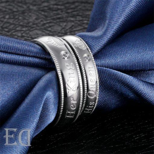 Gifts for men gifts for women king queen silver rings-19