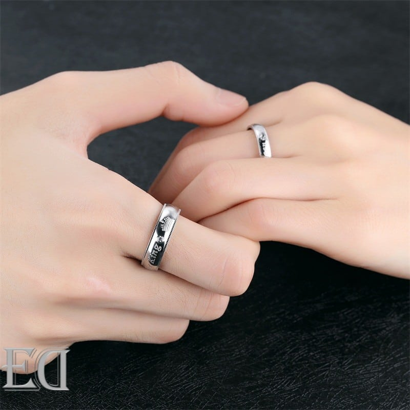 Gifts for men gifts for women king queen silver rings-20