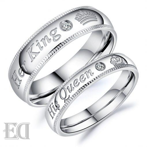 Gifts for men gifts for women king queen silver rings-5