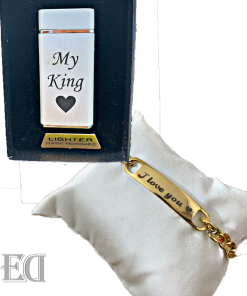 Gifts premium set customized bracelet and lighter for men english