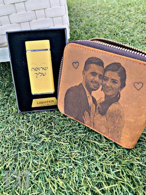 Gifts premium set customized leather wallet and lighter for men-2