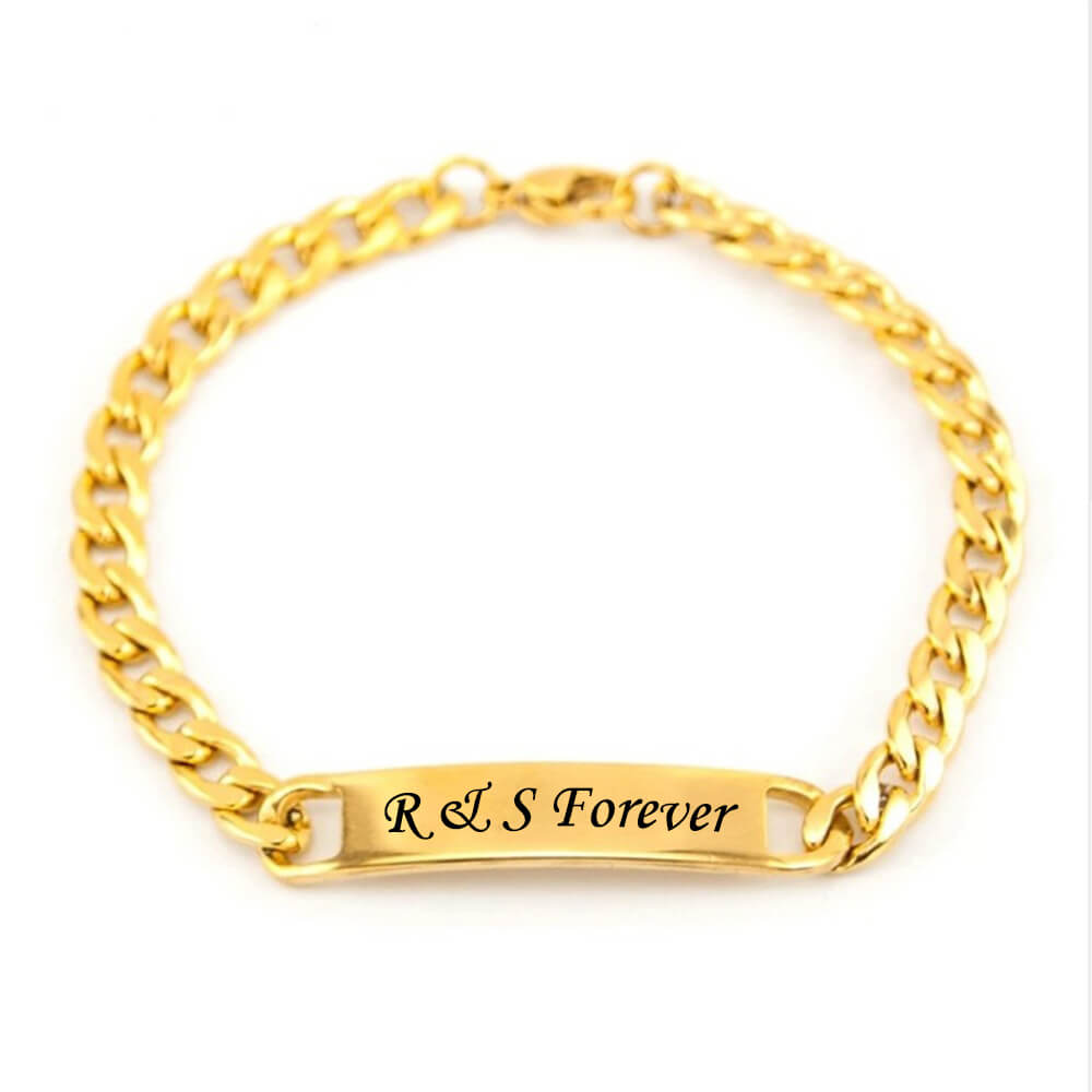 Gold bracelet with engraving