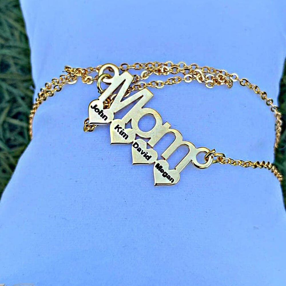 Gold necklace for mom with baby names
