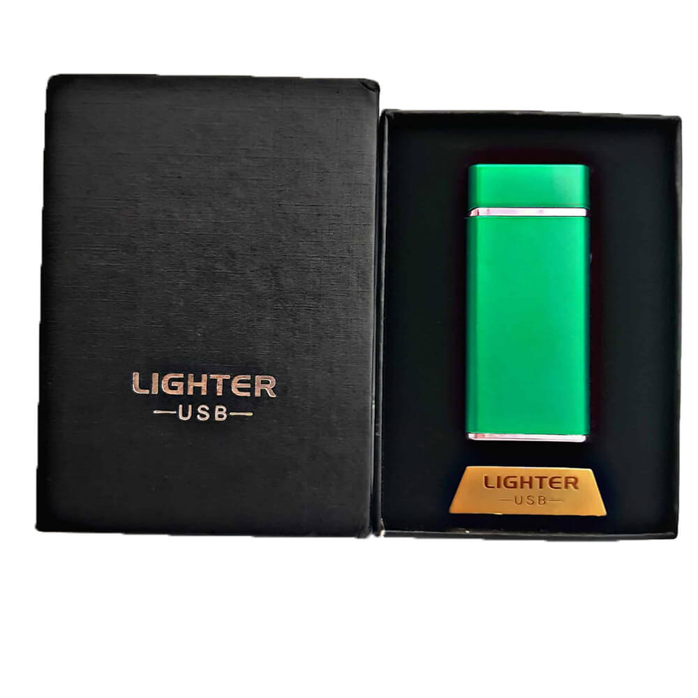 Green electric lighter with engraving-1