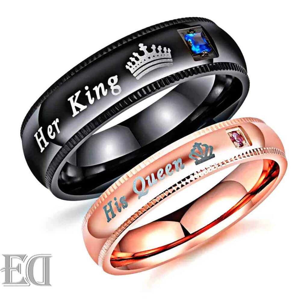 King and queen rings black gold