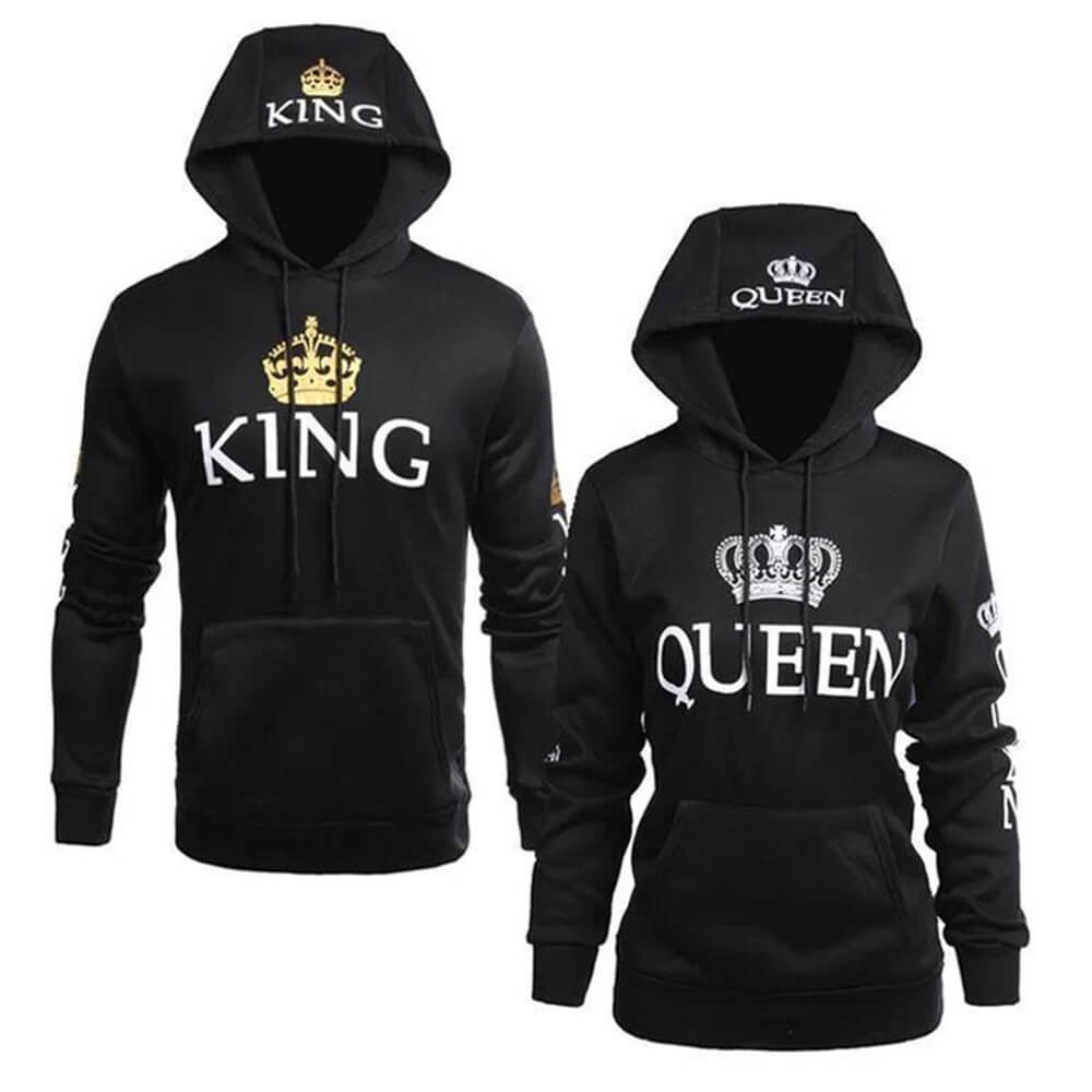 Long black hoodies King and Queen