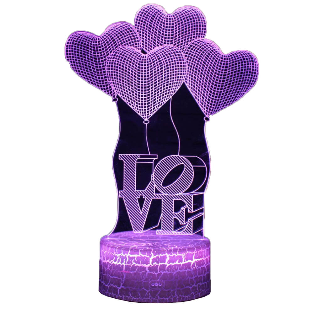 Love heart ballon night light changing colors