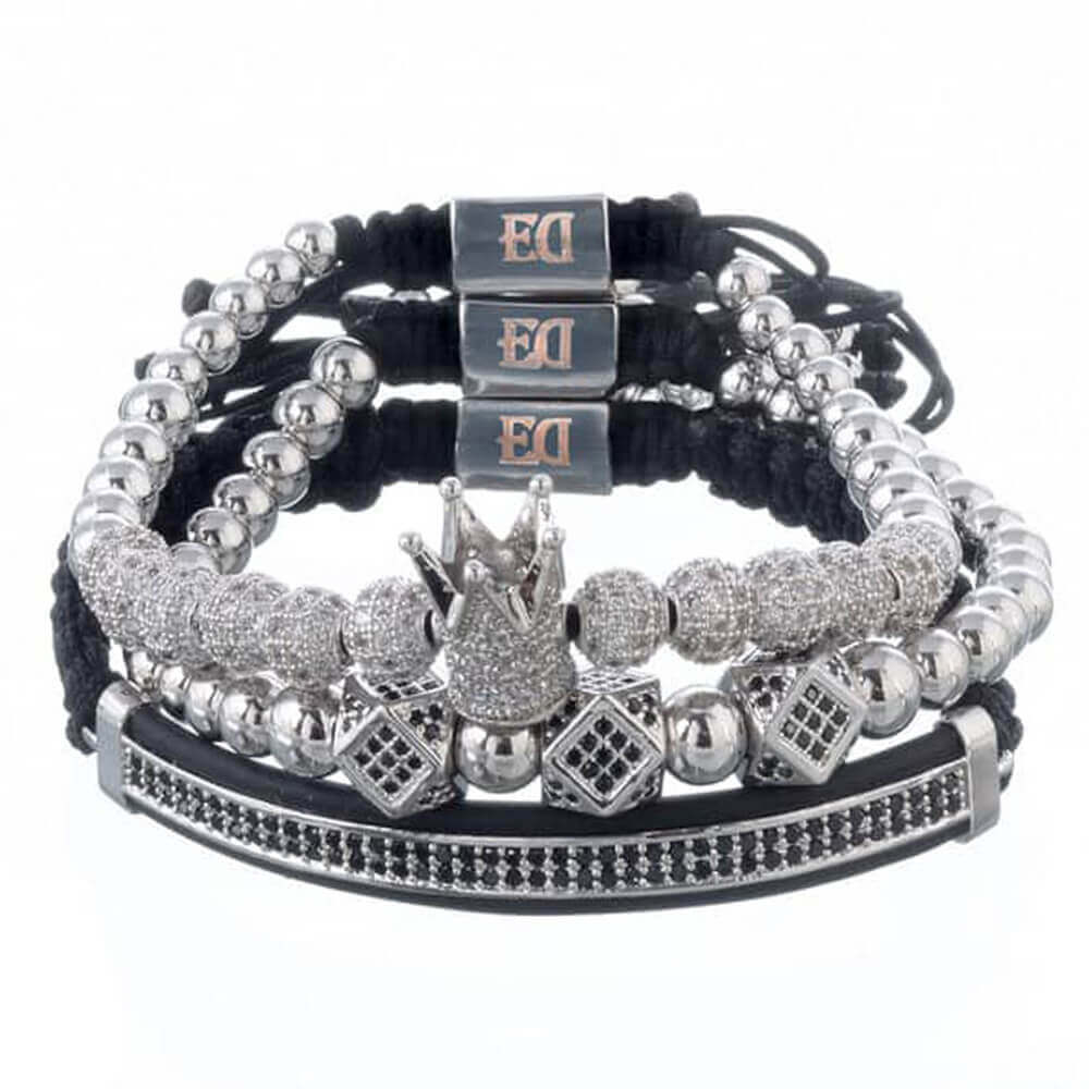 Set of silver bracelets with a crown