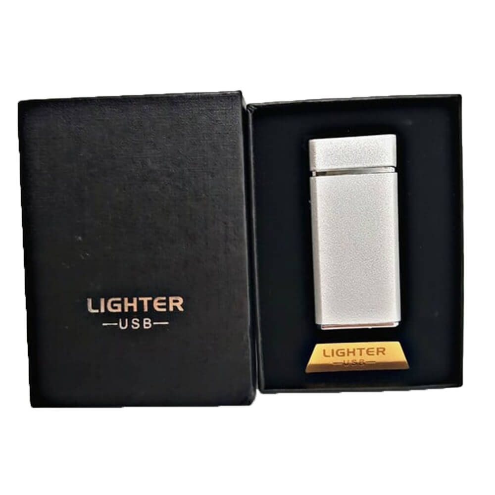 Silver electric lighter with engraving