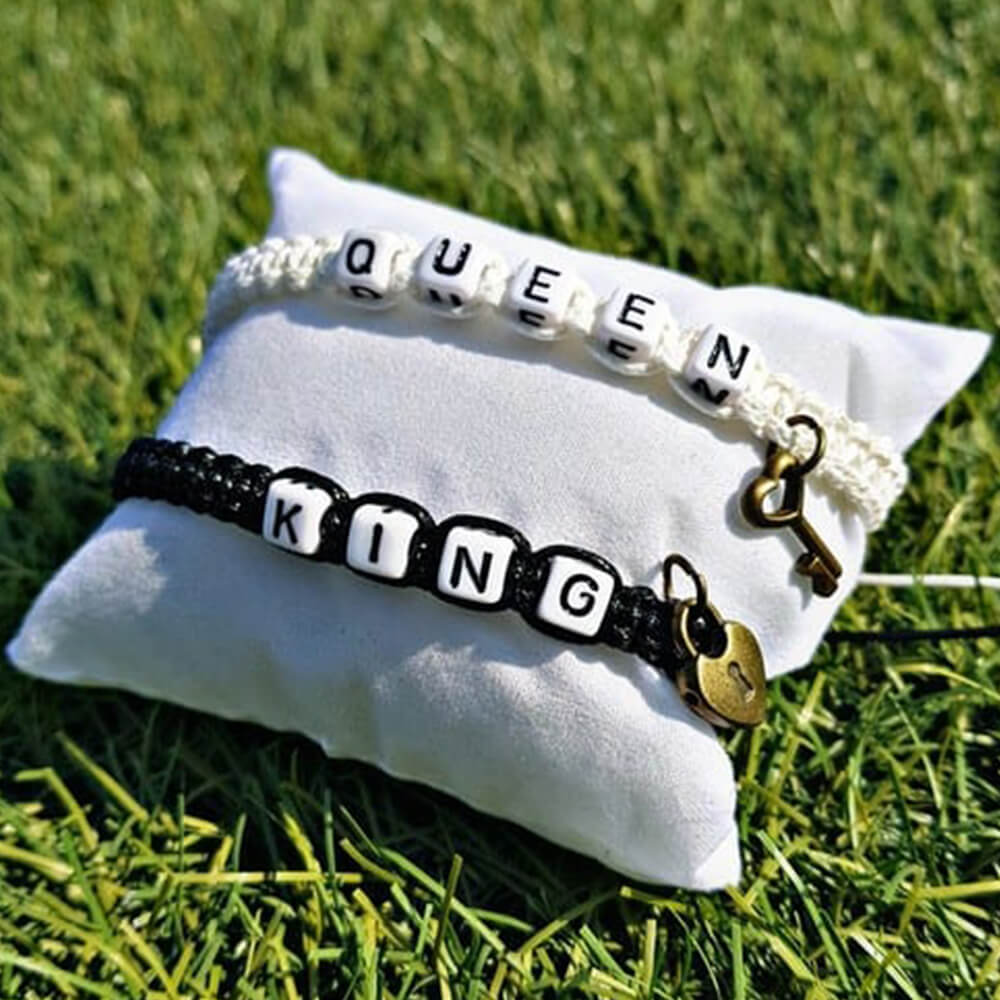 black and white charm king queen bracelets-4