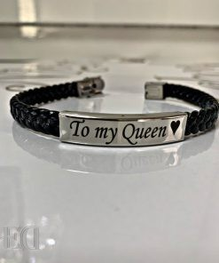 couple gifts engraved customized to my queen black rubber