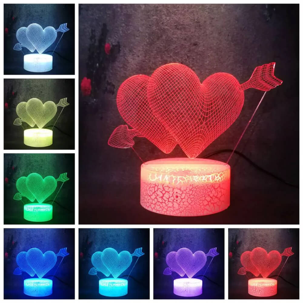 cupid heart night light changing colors