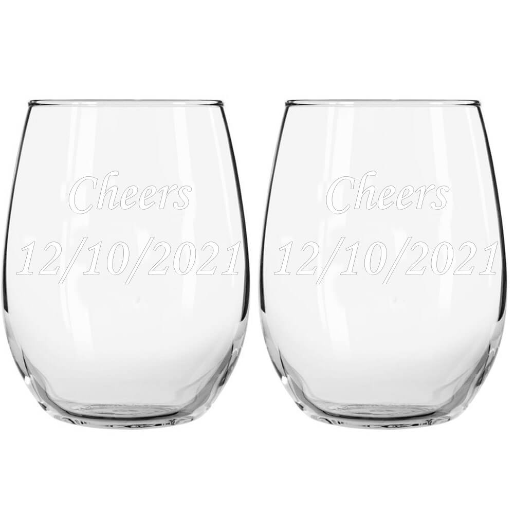 engraved stemless wine glasses