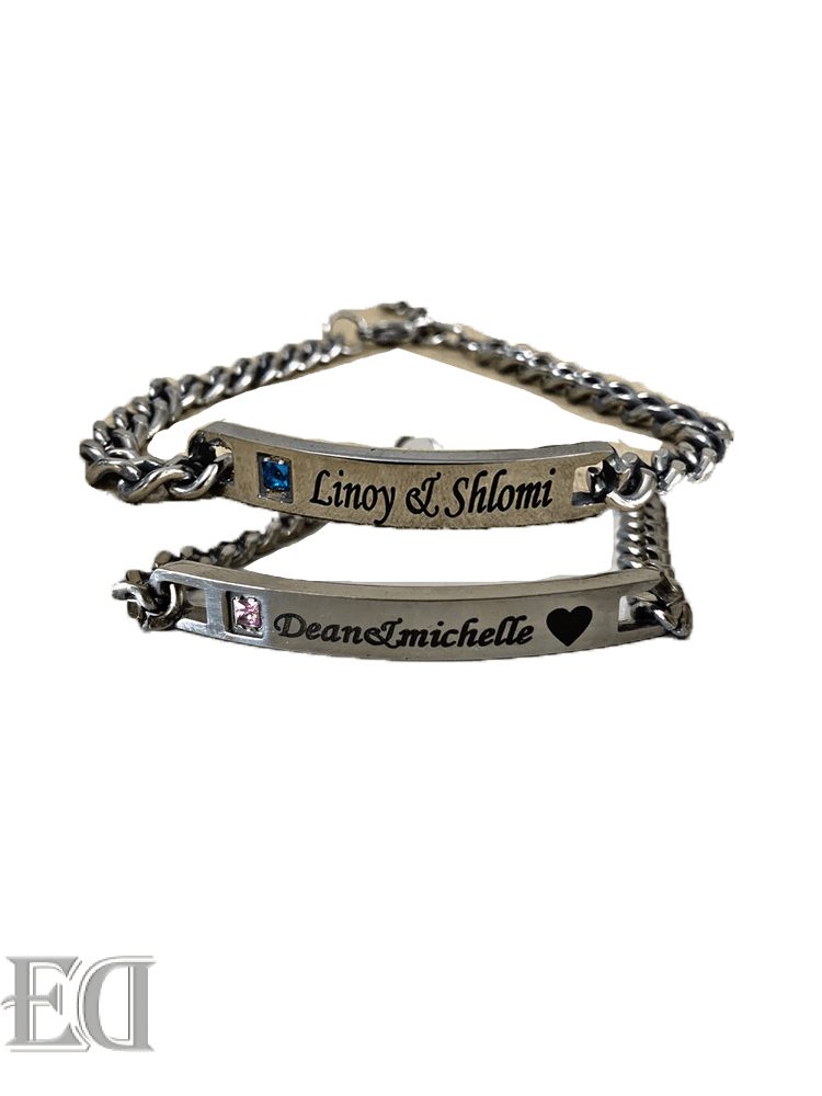 gift couples engrave bracelet names silver with pink stone