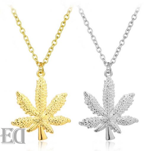 hip hop cannabis necklace silver gold gift